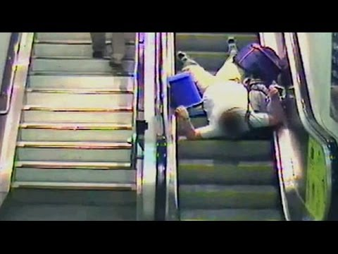 Network Rail Releases Cautionary CCTV Fotage Of People Falling Down Escalators - YouTube