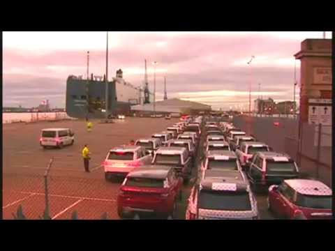 BBC News   Hoegh Osaka  Land Rovers and Jaguars driven off c