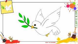 How to draw a dove SIMPLE, EASY & SLOWLY step by step for kids