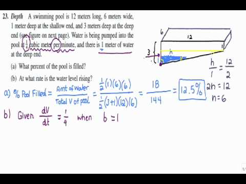 Ap Calculus Ab Hw Section 2 7 Problem Related Rates Swimming Pool Problem Youtube