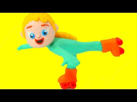Frozen Elsa Teaches Rollerblading - Superhero Babies Play Doh Cartoons & Stop Motion Movies