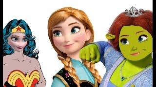 Elsa Frozen y Anna se disfrazan de Fiona shrek y la mujer maravilla en español 2016 HD #Frozen