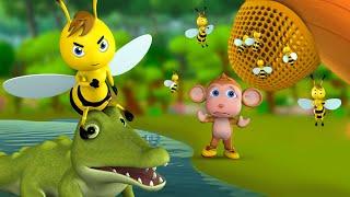 Honey Bee and Crocodile Story - मधुमक्खी का शहद और मगरमच्छ कहानी 3D Kids Moral Fairy Stories Tales
