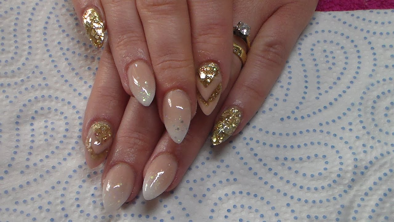Acrylic Nails | Nude and Gold - YouTube