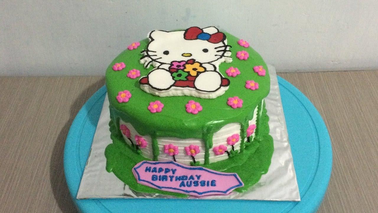 Hello Kitty Cake Small Flowers Buttercream Transfer Youtube