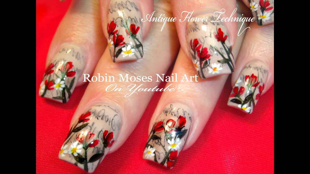 Antique Newspaper Nails with Flowers | Newsprint Sharpie Hack Nail ...