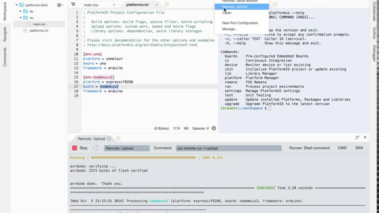 Cloud Web IDE + PlatformIO Remote = IDE for Embedded/IoT development