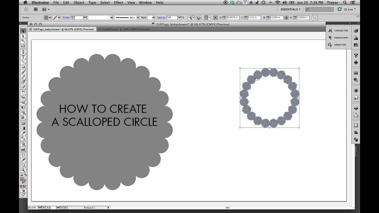 How to make a Scalloped Circle in Adobe Illustrator - YouTube