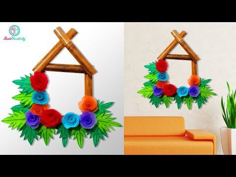 How to create wall hanging with bamboo, shopping bag & Paper   Diy crafts   Taniscreativity