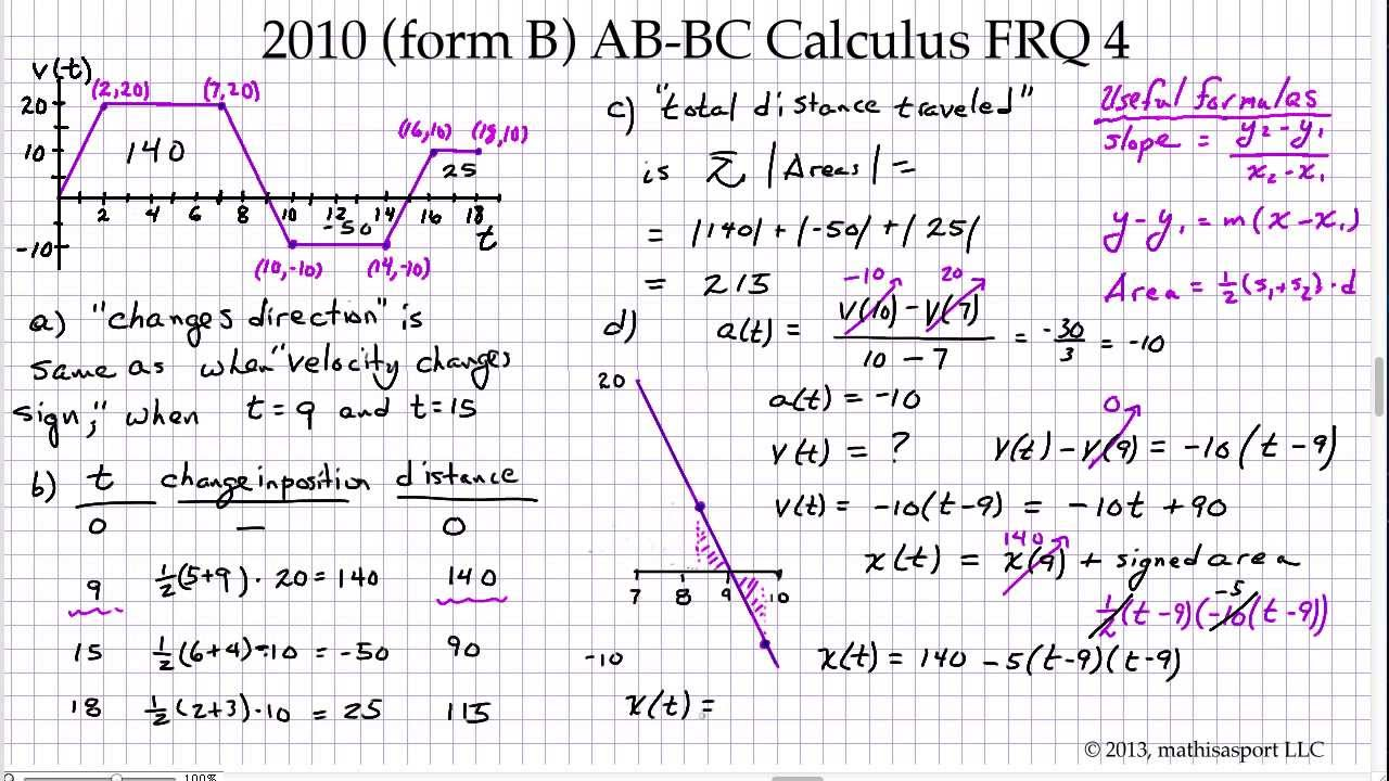 2010 (Form B) AB-BC Calculus FRQ 4 - YouTube