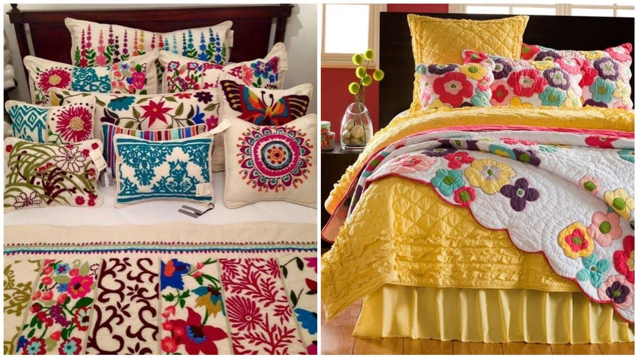 Hand Embroidered & Embellished Bedspread & Pillow cover Designs  In Mexican style