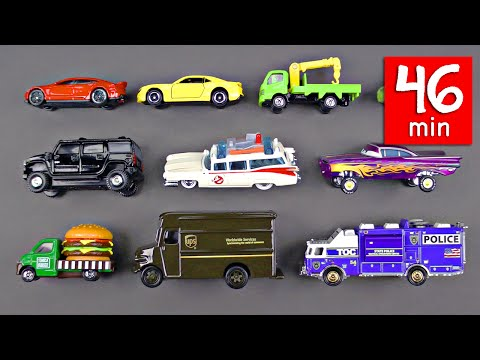 Learning Street Vehicles for Kids (46 Mins) Cars and Trucks - Hot Wheels Matchbox Disney Tomica Tayo
