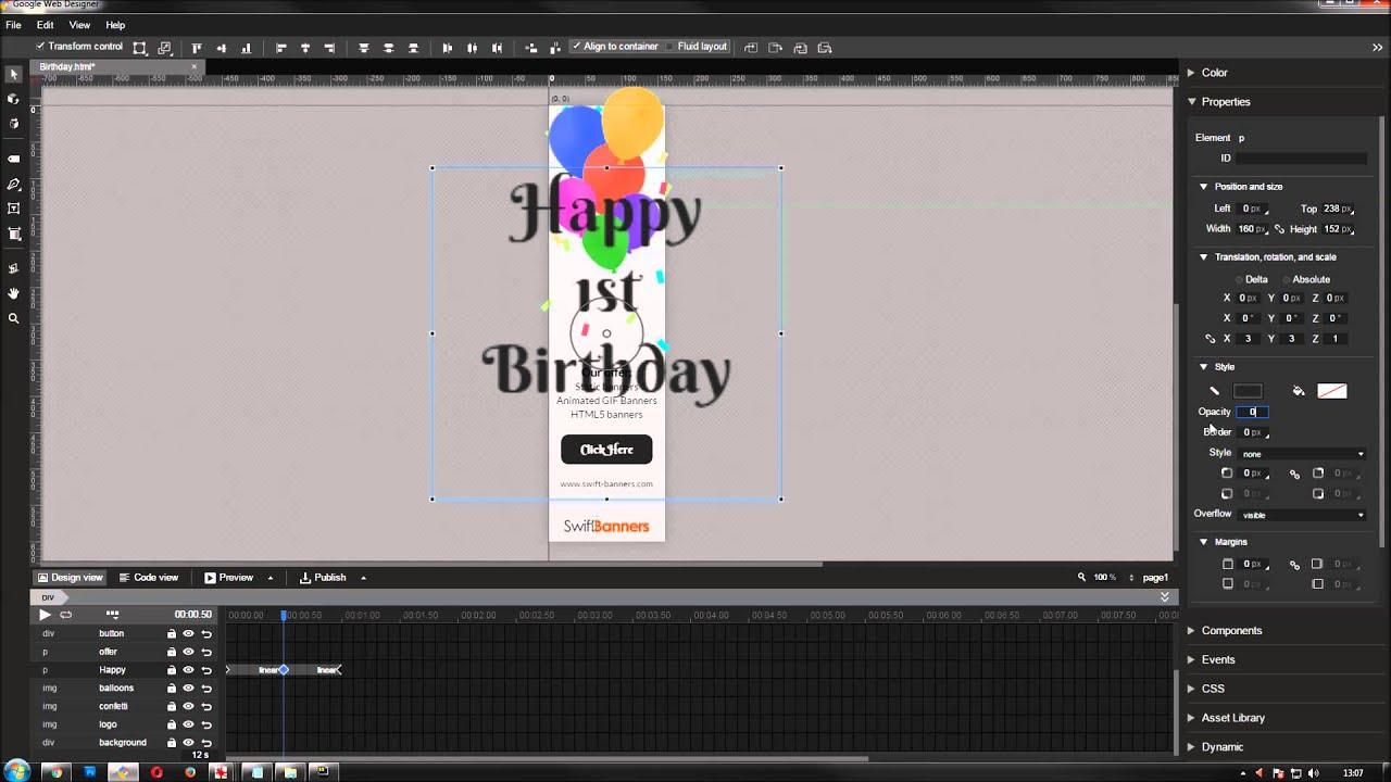google web designer banner tutorial