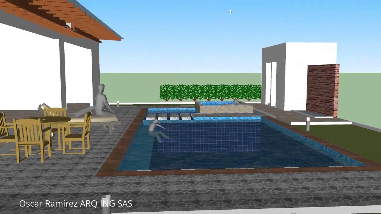 Proyecto piscina casa 84 casa de campo youtube for Piscinas ramirez