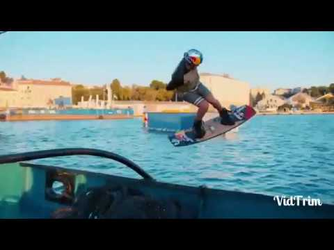 Wakeboarding With a Massive Harbor Crane as a Tow Cable