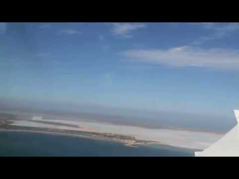 Pilatus PC12 progress landing at Shark Bay Salt airfield in Useless Loop, Western Australia