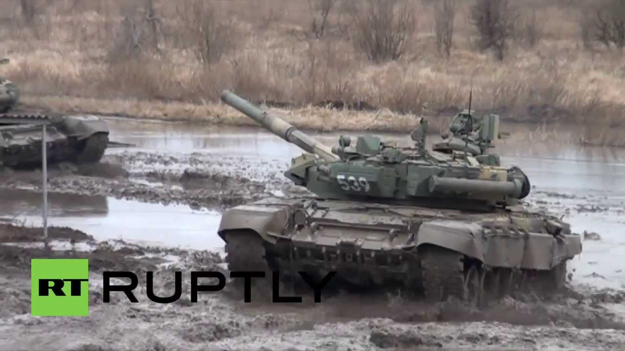 russia armed forces train t 90 tank crew in speed manoeuvring and