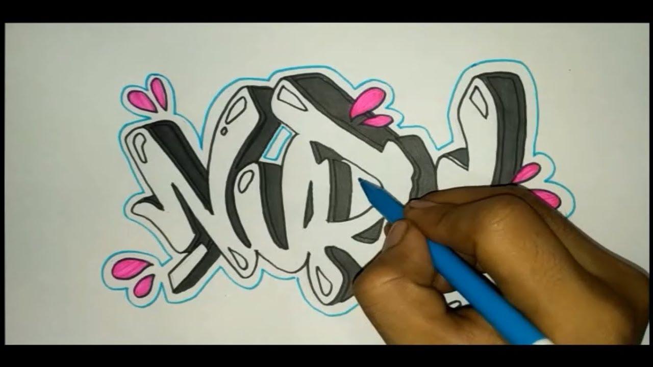 Membuat grafiti nama nurul