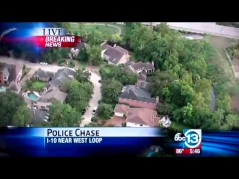 Houston Texas Police Chase - Suspect wanted for Robbery and Kidnapping