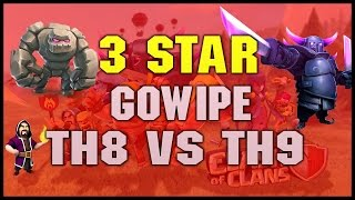 Clash of Clans | TH8 vs TH9 Golem, Wizard & Pekka (GoWiPe) 3 Star Clan War Attack