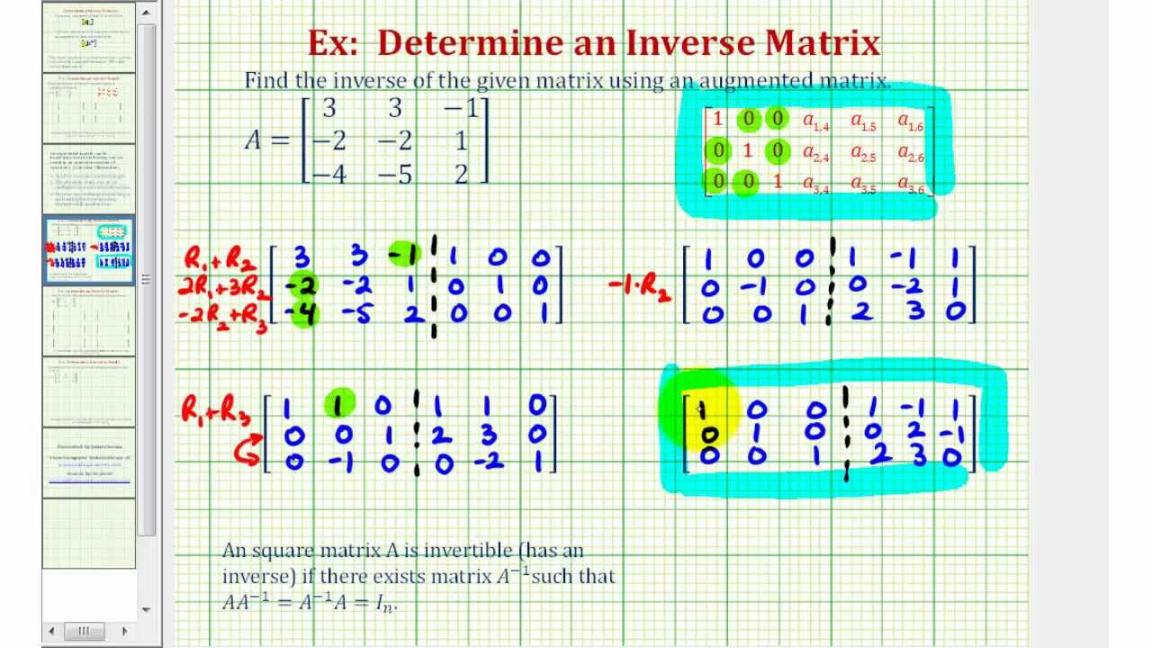 ex 1 inverse of a 3x3 matrix using an augmented matrix youtube. Black Bedroom Furniture Sets. Home Design Ideas
