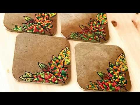 Fall theme Coasters - Simon Says Stamp Fractile Leaves