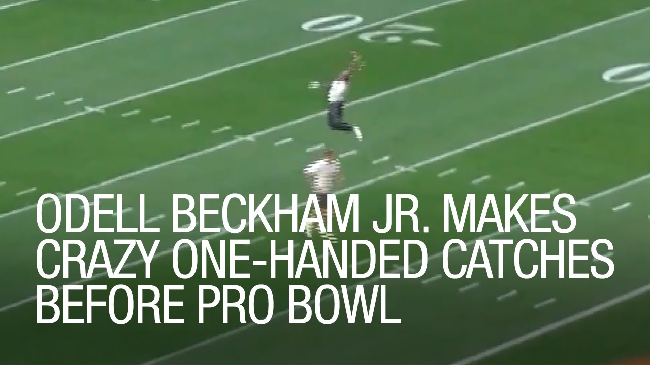 0a9b10708 Odell Beckham Jr. makes crazy one-handed catches before Pro Bowl - YouTube