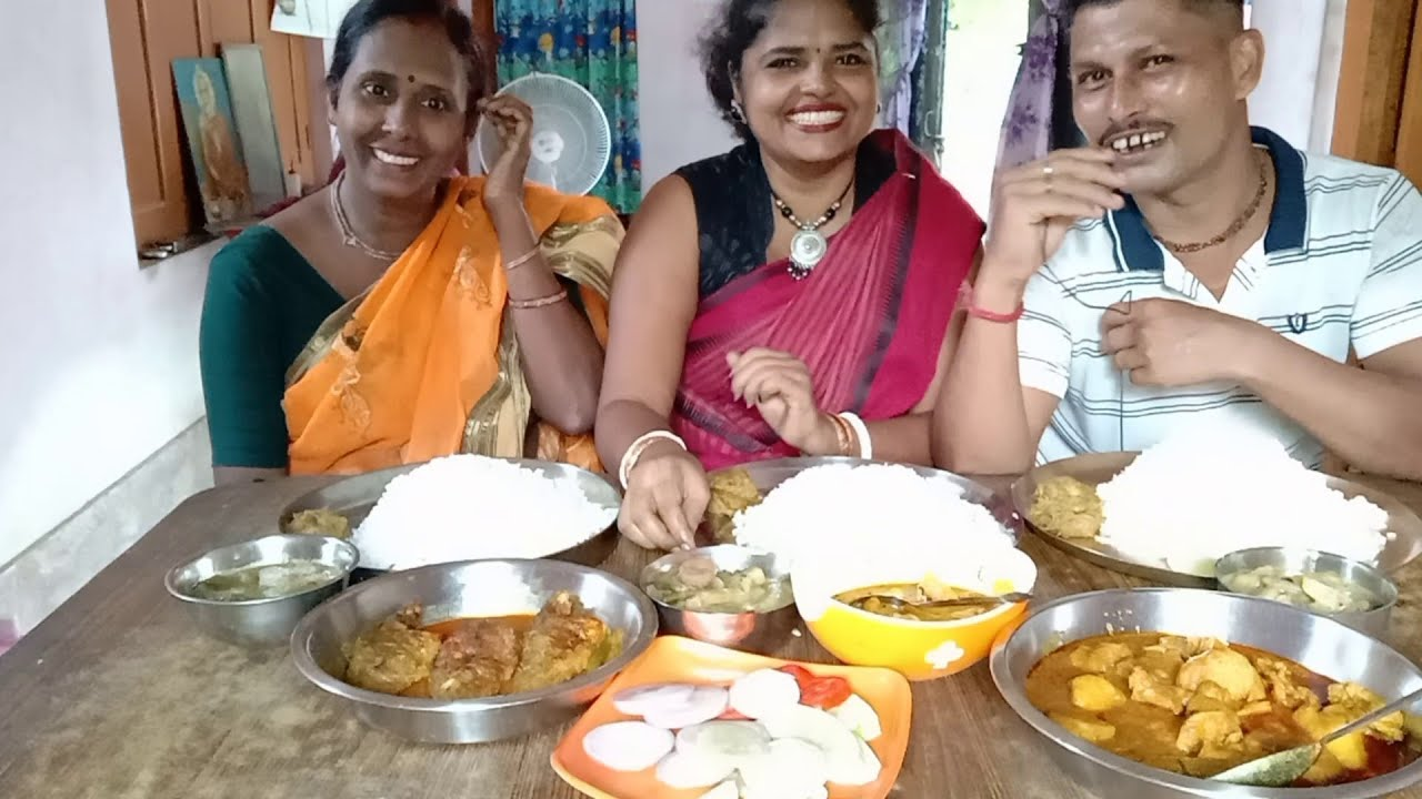First Time Eating Show ( Sister in Law & Husband - Wife Together ) -Shukto -Chicken -Fish -Chutney