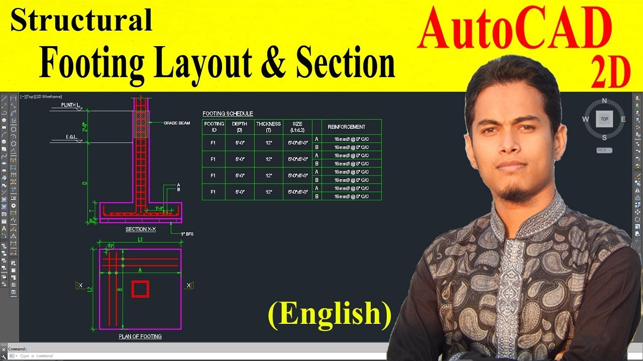 How to draw foundation plan in autocad at structural drawing