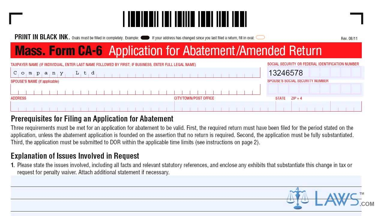 Form CA 6 Application for Abatement Amended Return - YouTube