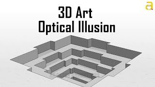 3D Art Hole Illusion  -  Illusion Art for Kids- 3D Trick Drawing - Perspective 3d art - cartoon art