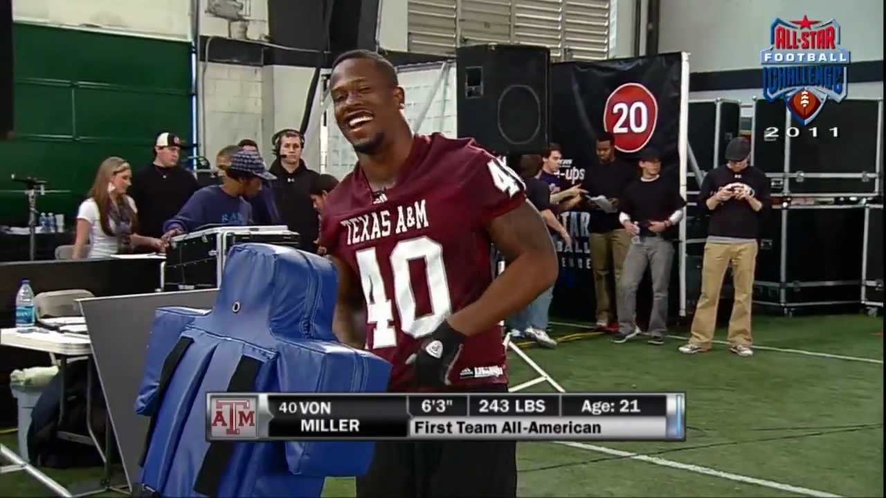 new product cb21e 72336 Former Texas A&M LB Von Miller competing in 2011 All-Star Football Challenge