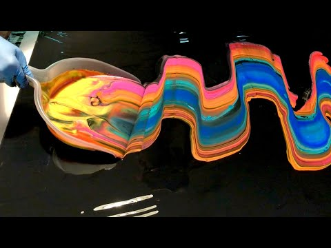 #64 Acrylic pouring with a dustpan