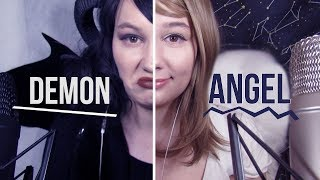 ASMR Split Down the Middle! Angel VS Demon (Mic Blowing, Breathy Whispers, Lip and Mouth Triggers)