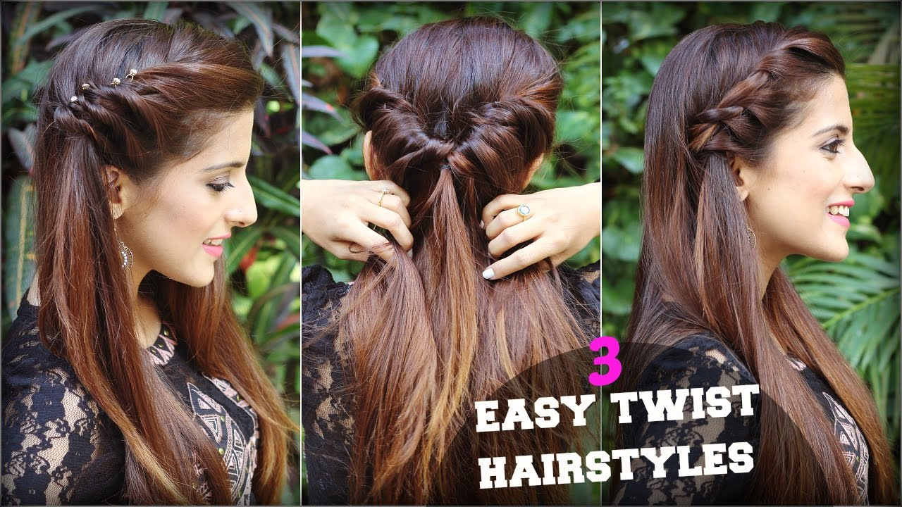 1 min cute & easy everyday twist hairstyles for school, college, work/ quick hair tutorial