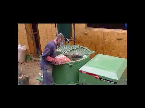 Mixing hempcrete in a pan mixer