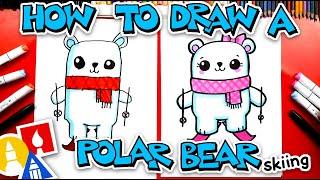 How To Draw A Funny Cartoon Polar Bear Skiing
