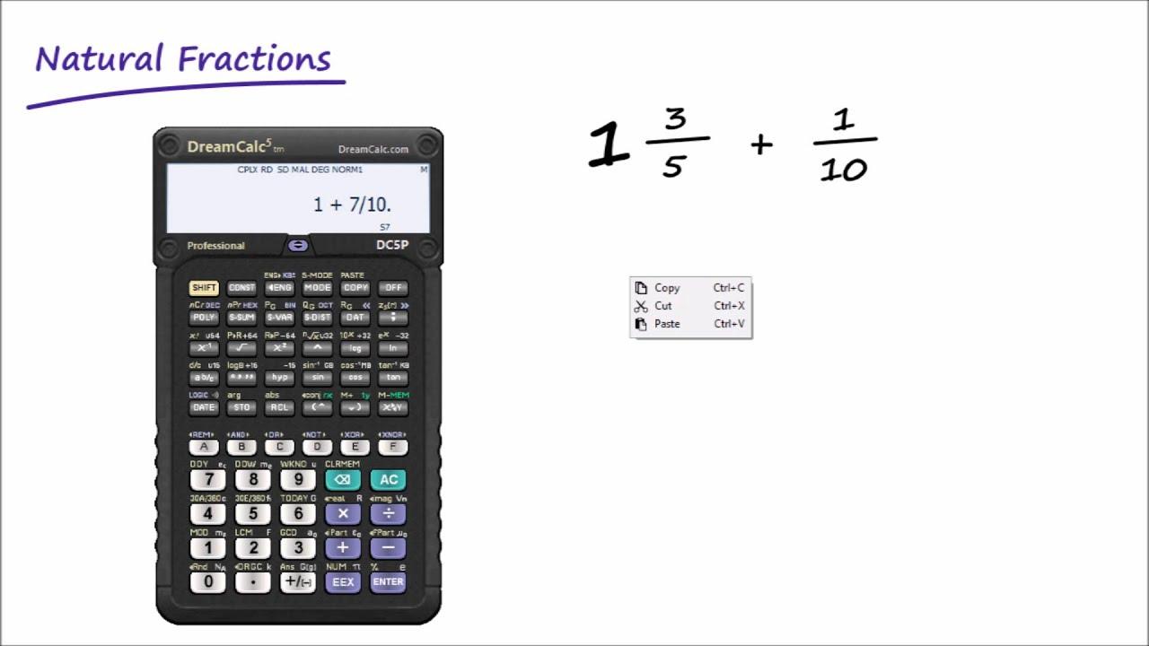 scientific calculator fractions online free