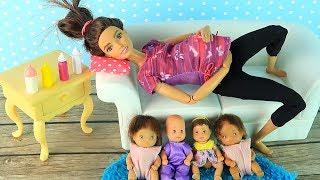 БЕРЕМЕННАЯ МАМА РАБОТАЕТ НЯНЕЙ? Мультик #Барби Катя и Семья Куклы Игрушки для девочек IkuklaTV