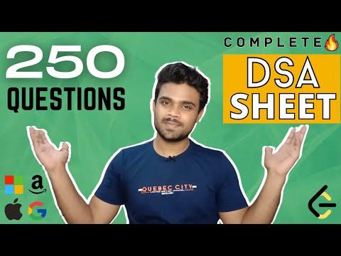 Complete (250 questions) DSA Sheet for Coding Interviews | Leetcode DSA sheet