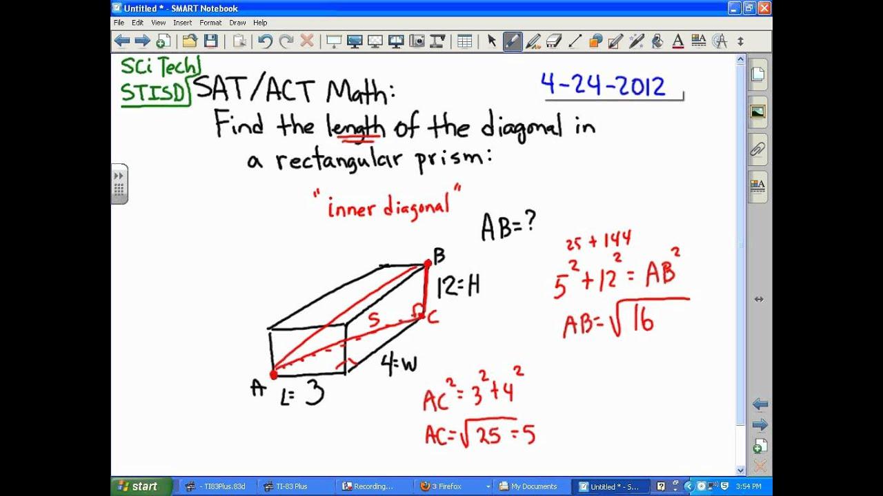 Sat Act Math: Diagonal In A Rectangular Solid