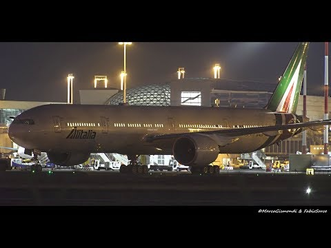 First Flight Alitalia Boeing 777-300ER [EI-WLA] takeoff from Rome FCO to Saõ Paulo GRU