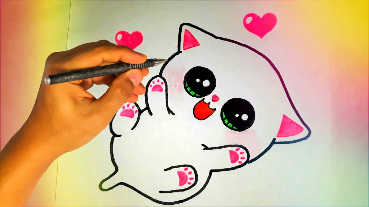 Как нарисовать милого КОТЁНКА? Лёгкие рисунки для детей ...