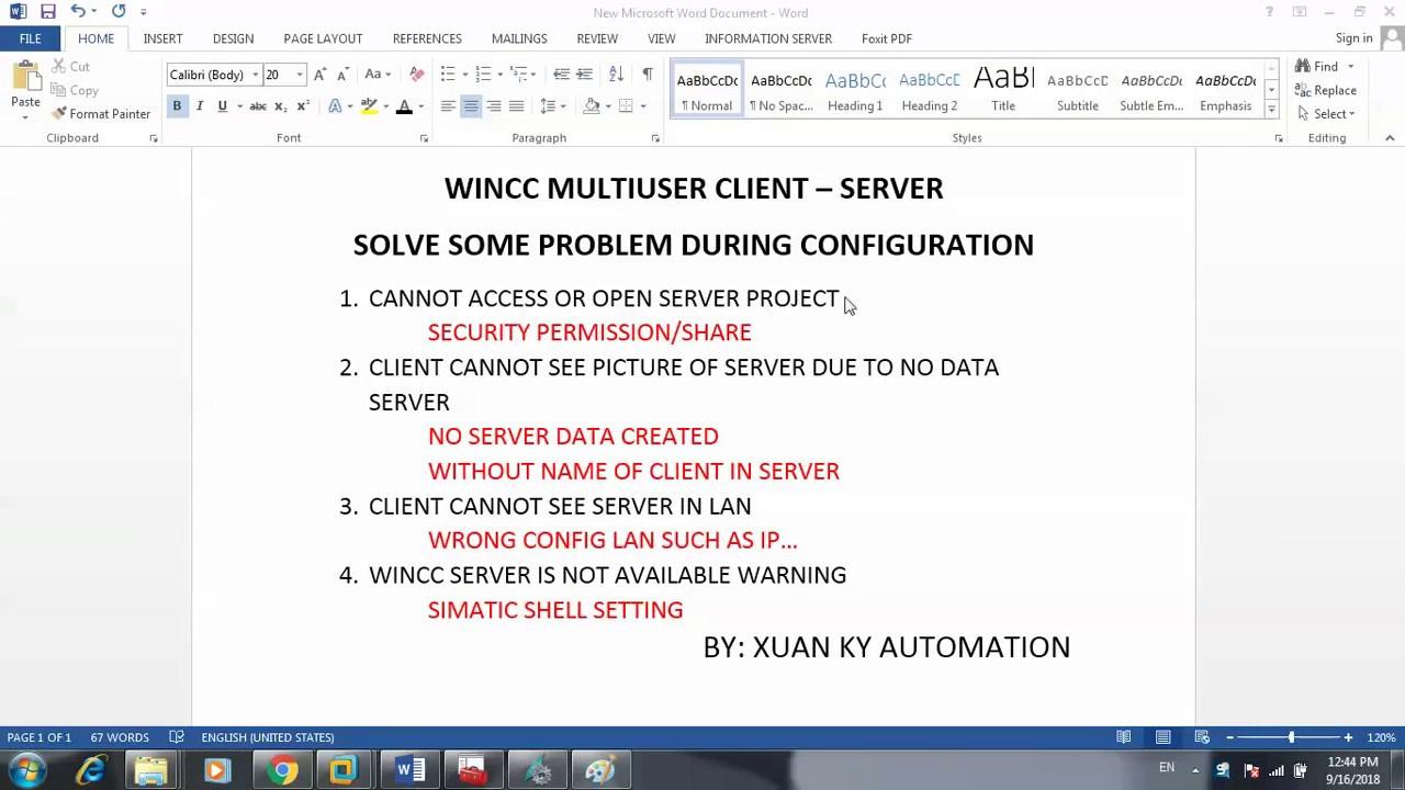 Solve problem WINCC SERVER IS NOT AVAILABLE in project wincc multiuser  Server client