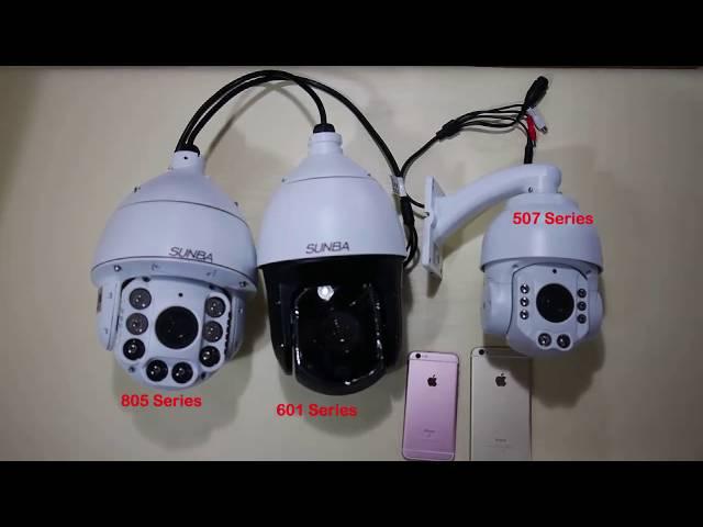 Size Comparison of Sunba PTZ Dome Cameras 20X Optical Zoom In