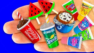 45 EASY DIY MINIATURE REALISTIC FOOD, DRINKS and THINGS | Bathtub, Handbags, Cookies, Cola, Sprite