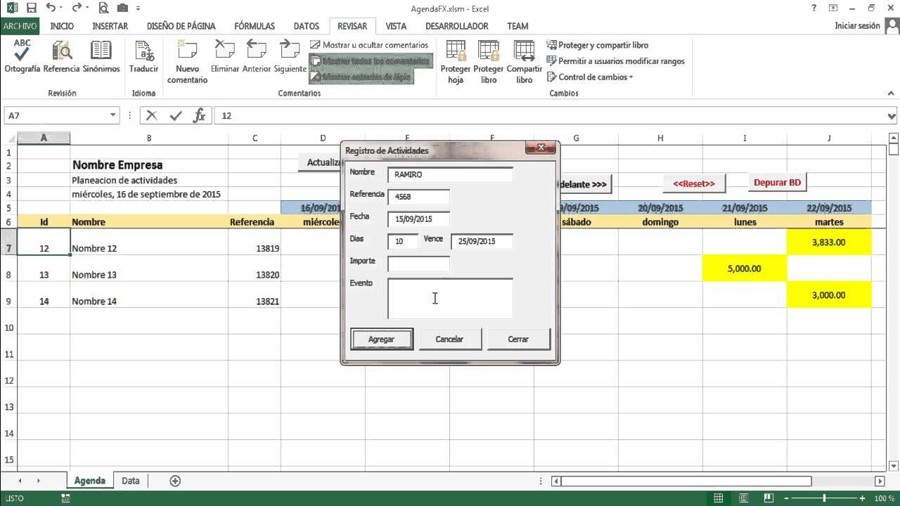 agenda en excel - programar eventos  pagos  cobranza
