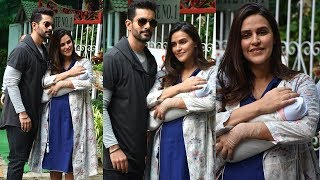 Neha Dhupia's CUTE Baby Girl Mehr's First Visuals Outside Hospital with husband Angad Bedi
