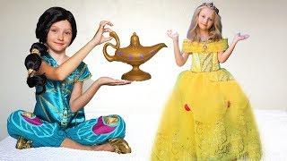 Super Polina  como princesa y la lámpara mágica de Aladdin