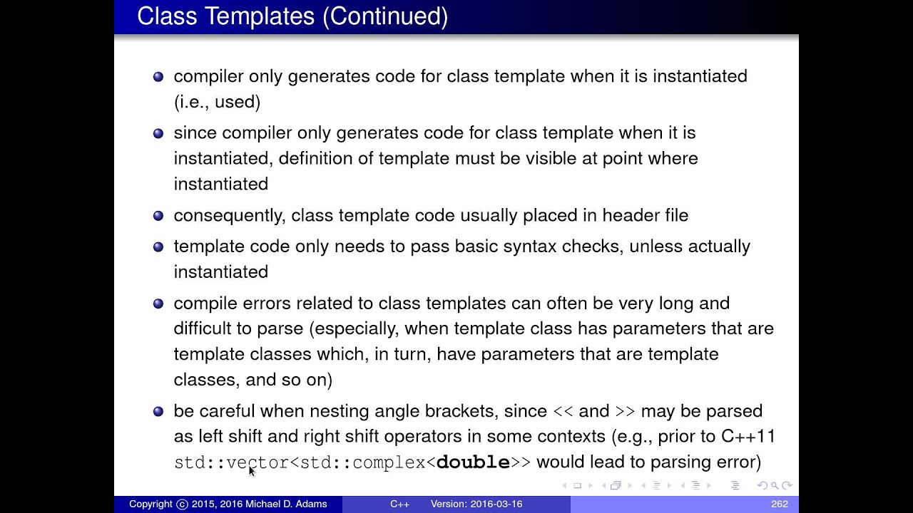 C++ Lecture Series --- Templates --- Part 3 of N --- Class Templates ...